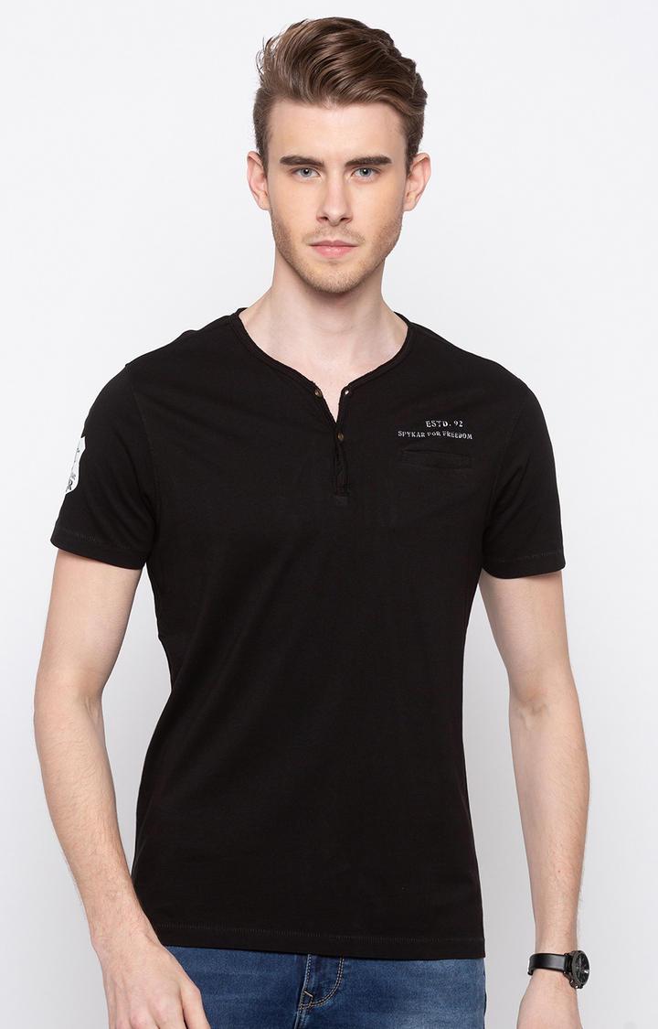 Jet Black Solid Slim Fit T-Shirts
