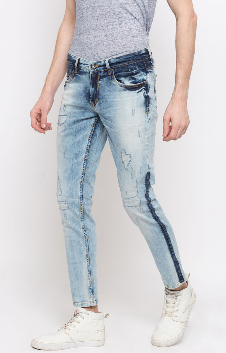 Light Blue Ripped Super Skinny Fit Jeans