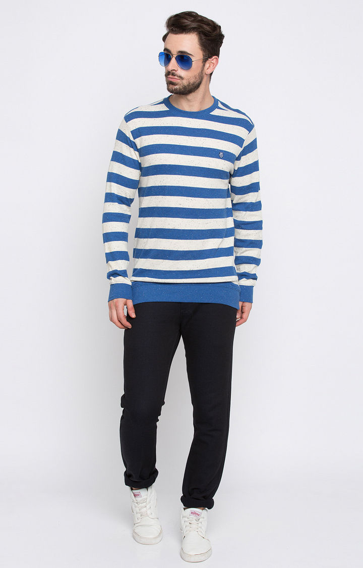 Royal Blue & White Striped Slim Fit T-Shirts