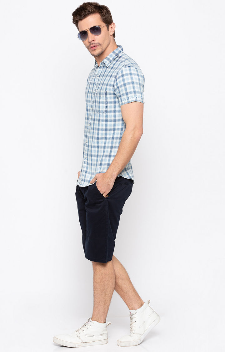 Indigo Checked Slim Fit Casual Shirts