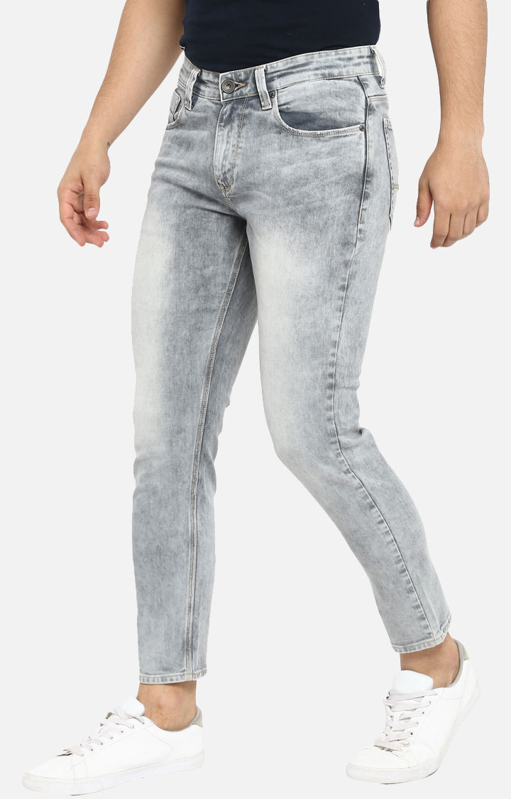 Light Grey Solid Slim Thigh Ankle Length Fit Jeans
