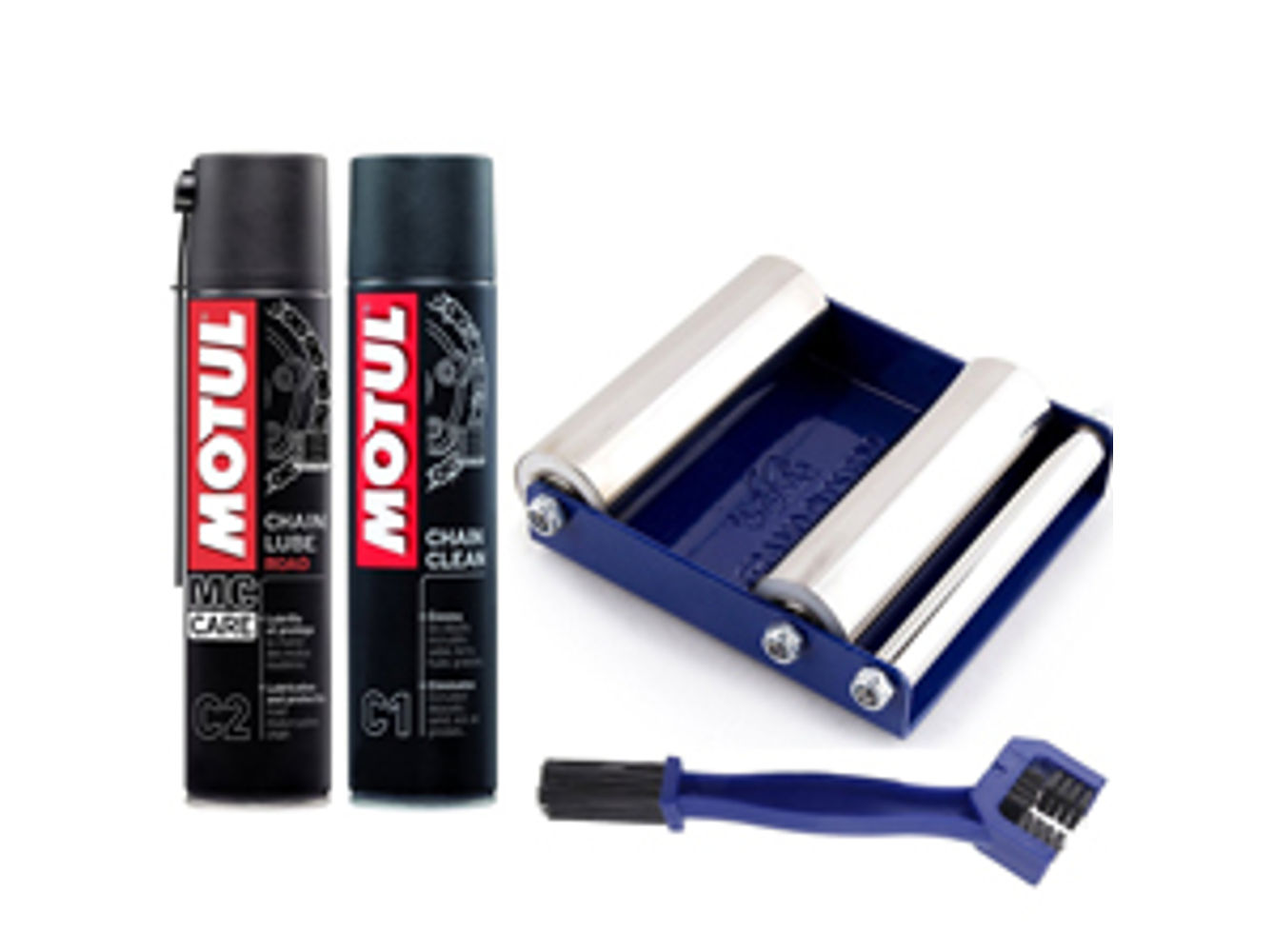 GRoller Small with Chain Clean Brush and Motul C1 C2 400 ml