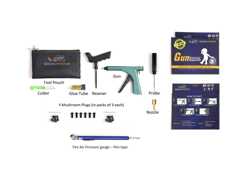 Gun Puncture Repair Kit with Tyre Air Pressure Gauge