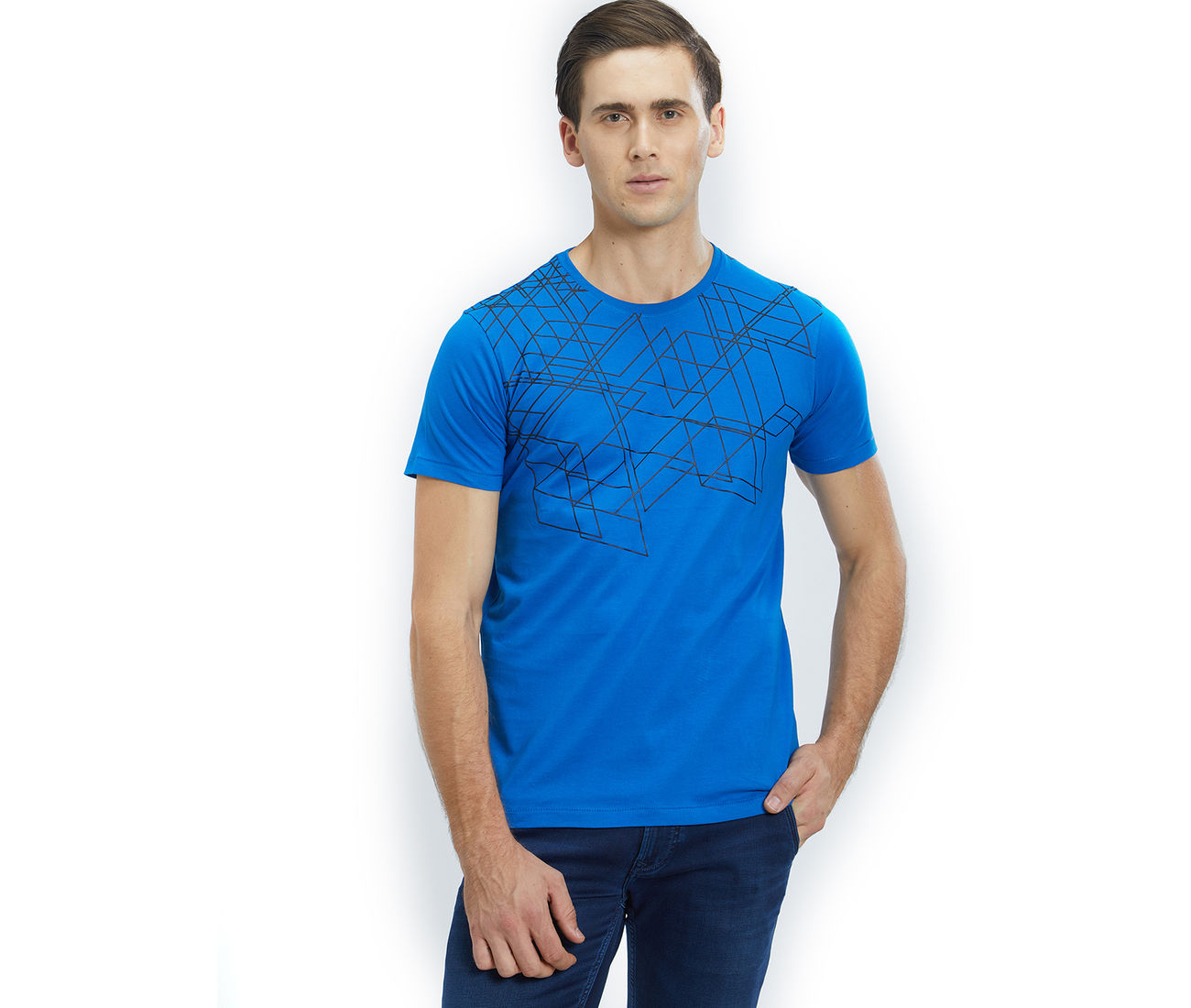 cb2e0ca8e Buy Blue Color Cotton Slim Fit T-Shirt For Men at Discounted Price.