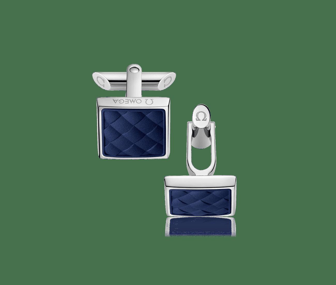 Stainless Steel  Marine Blue Rubber Cufflinks