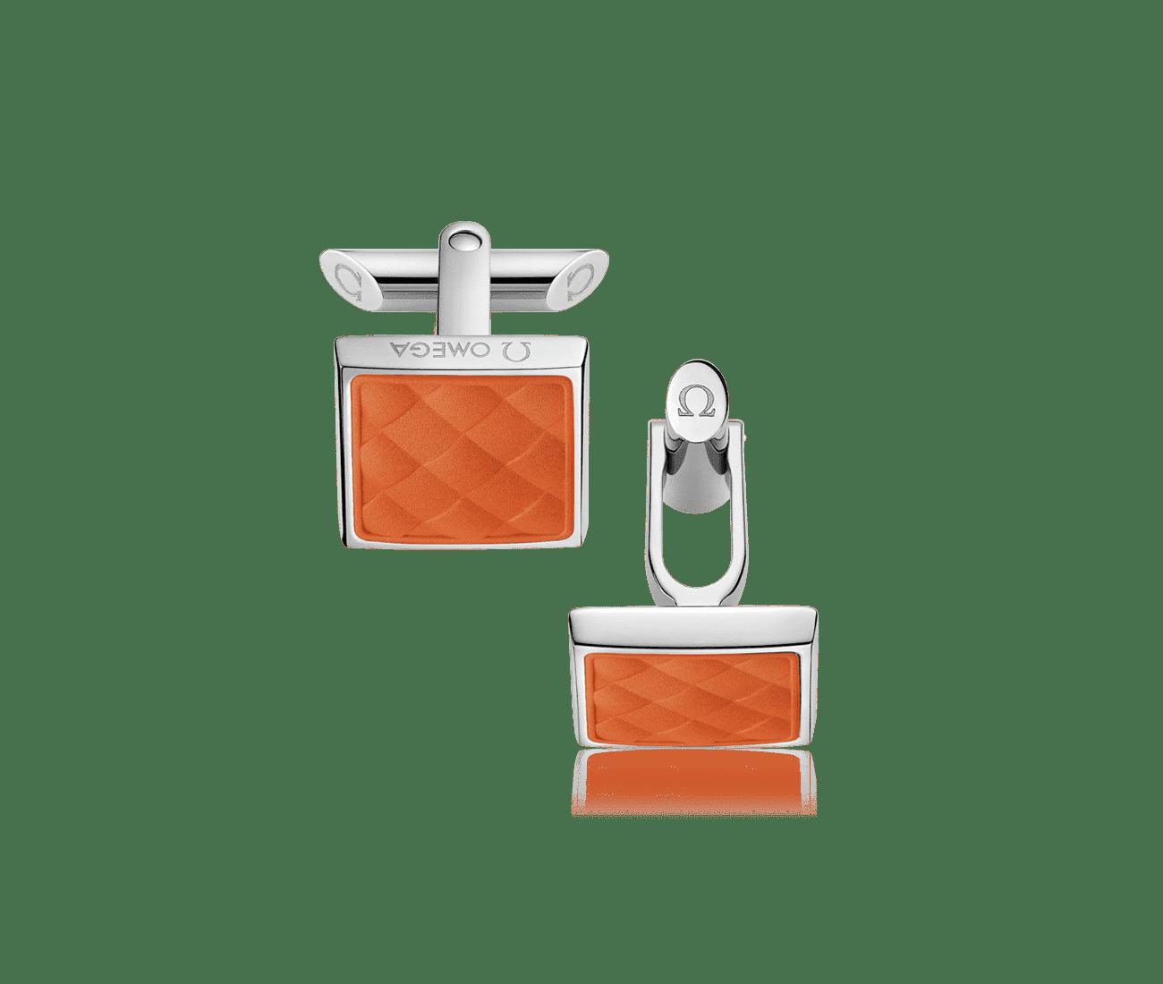 Stainless Steel  Orange Rubber Cufflinks