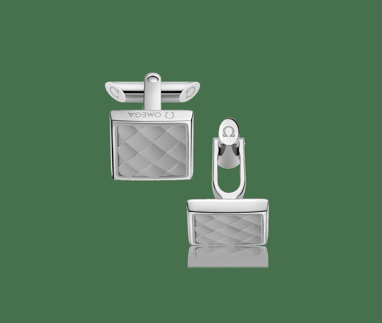Stainless Steel  Grey Rubber Cufflinks