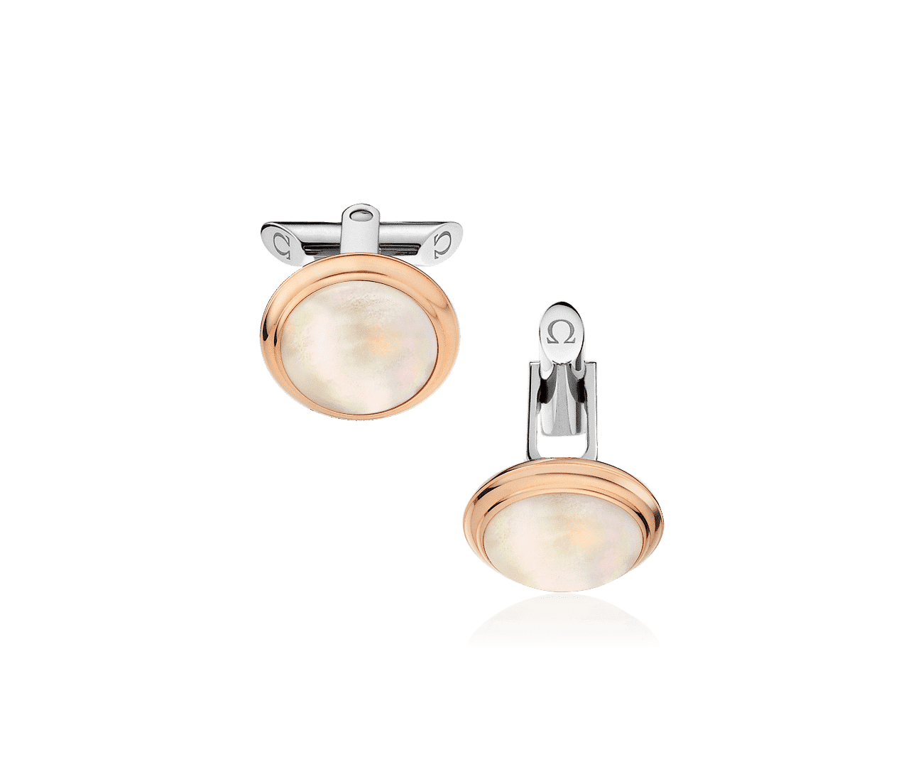 18K Rose Gold, Stainless Steel  2 Mother-of-Pearl Cabochons Cufflinks