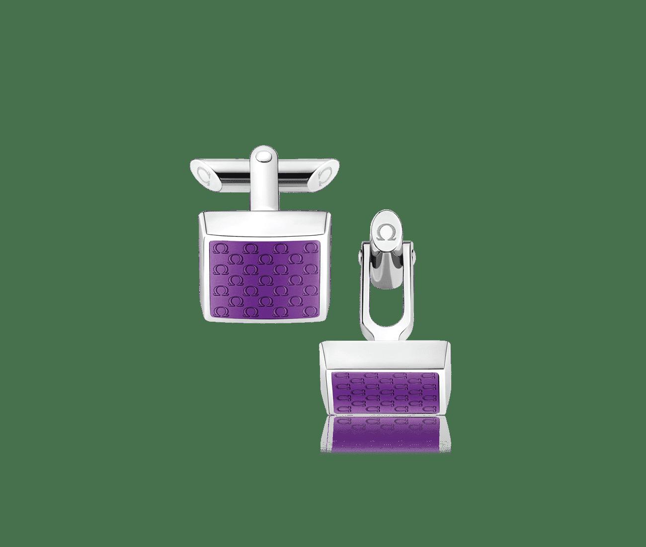 Stainless Steel  Violet Resin Cufflinks