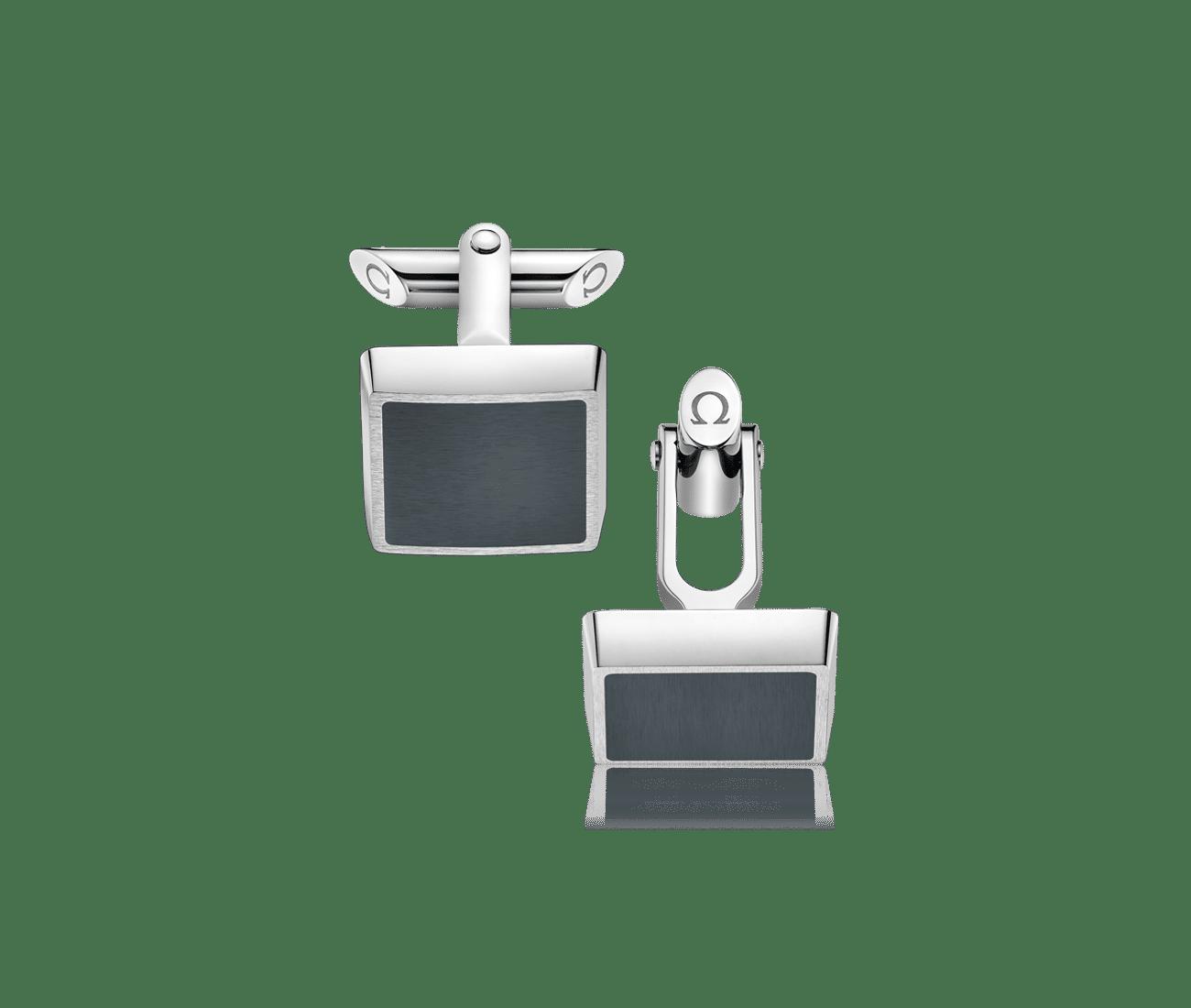 Stainless Steel  Grey Brushed Resin Cufflinks