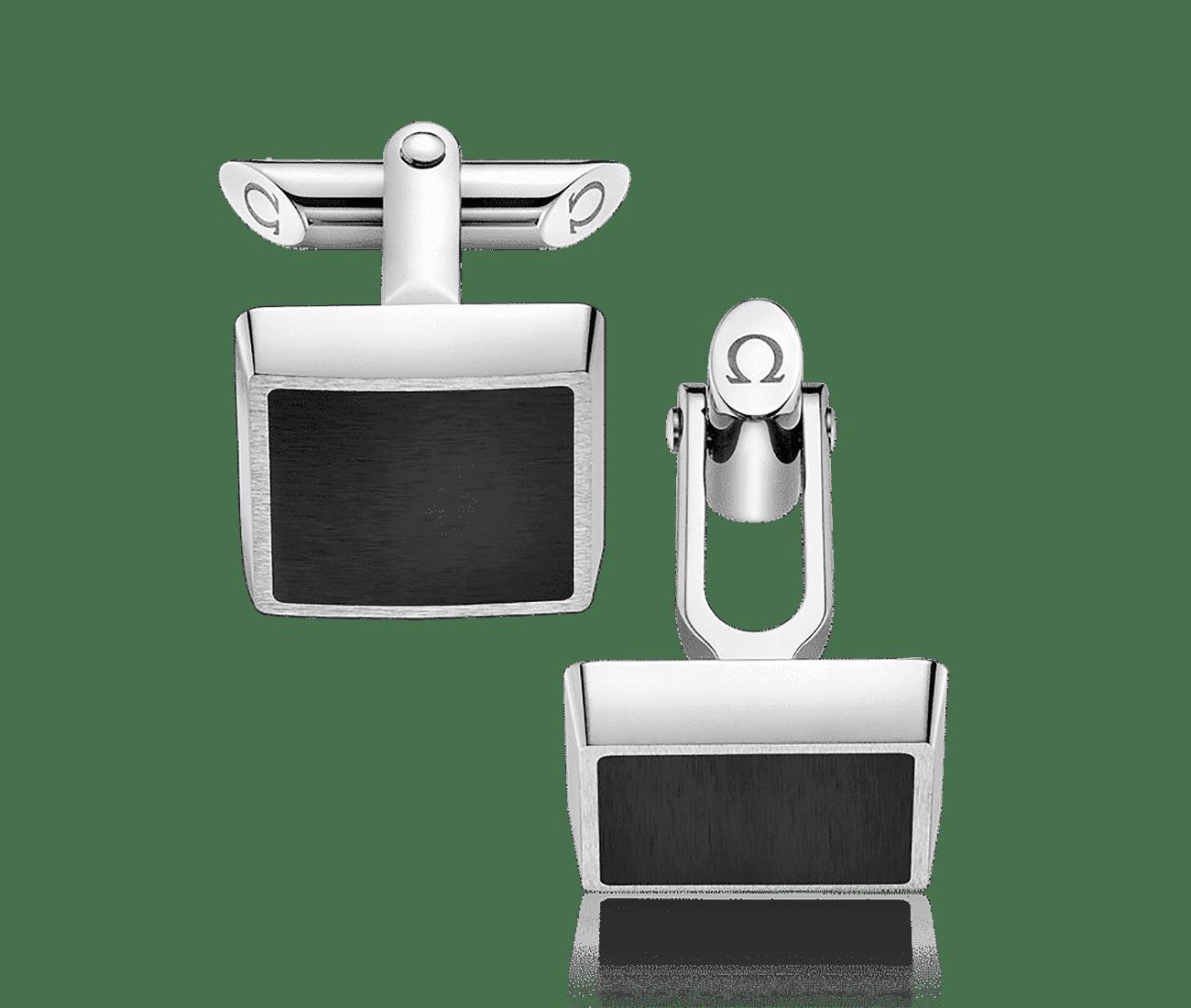 Stainless Steel  Black Brushed Resin Cufflinks