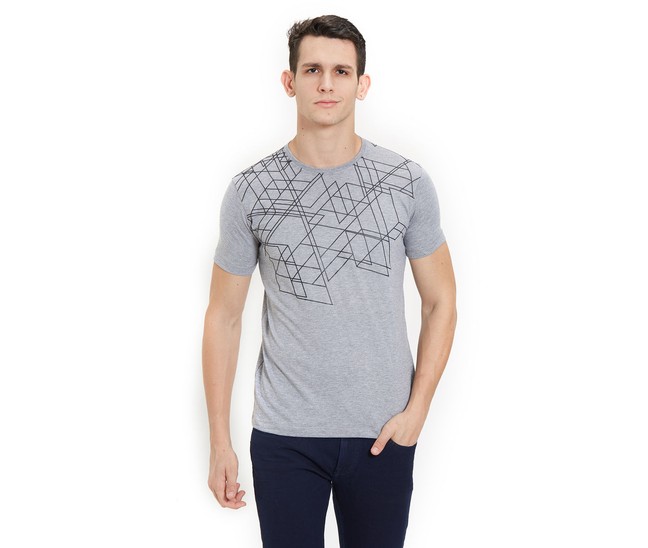 5879eeb78 Buy Grey Color Cotton Printed Slim Fit T -Shirt For Men at ...