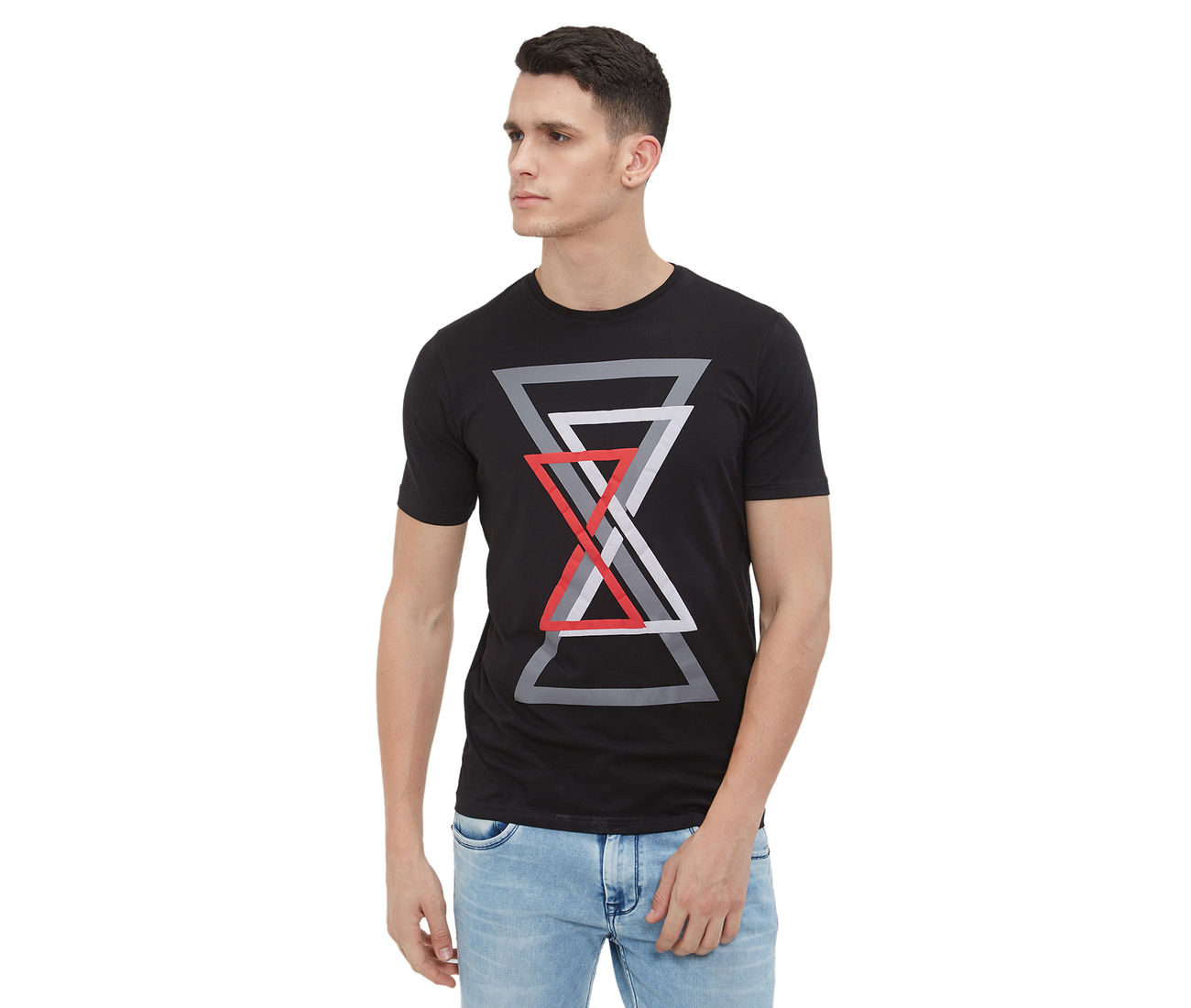 262097c6f Buy Black Color Cotton Printed Slim Fit T -Shirt For Men at ...