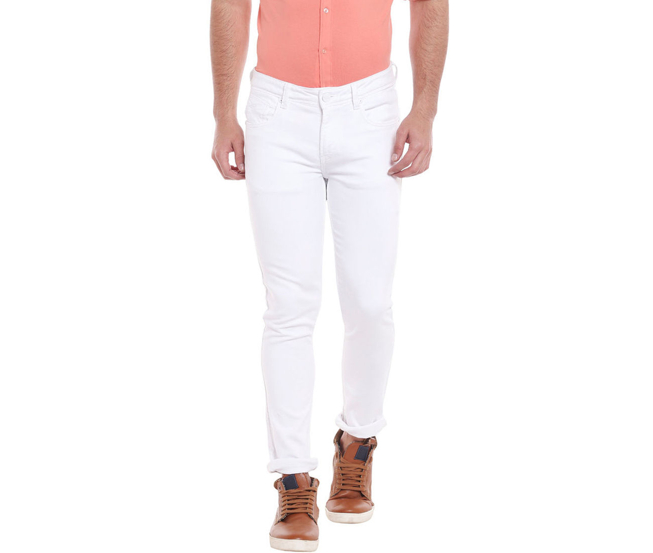 Solid White Color Slim Fit Jeans