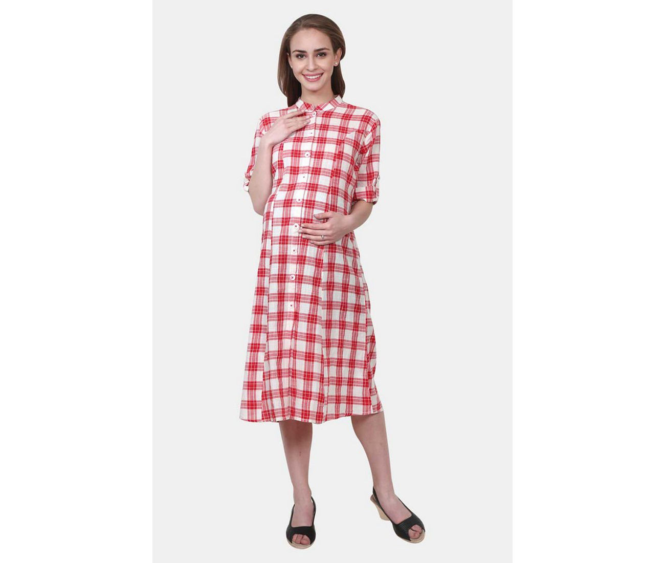 Red And White Checked Maternity Dress