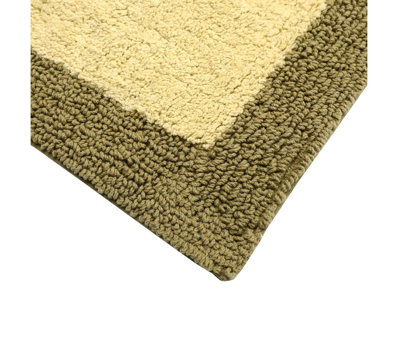 Olive Two Tone Reversible Cotton Bath Mat