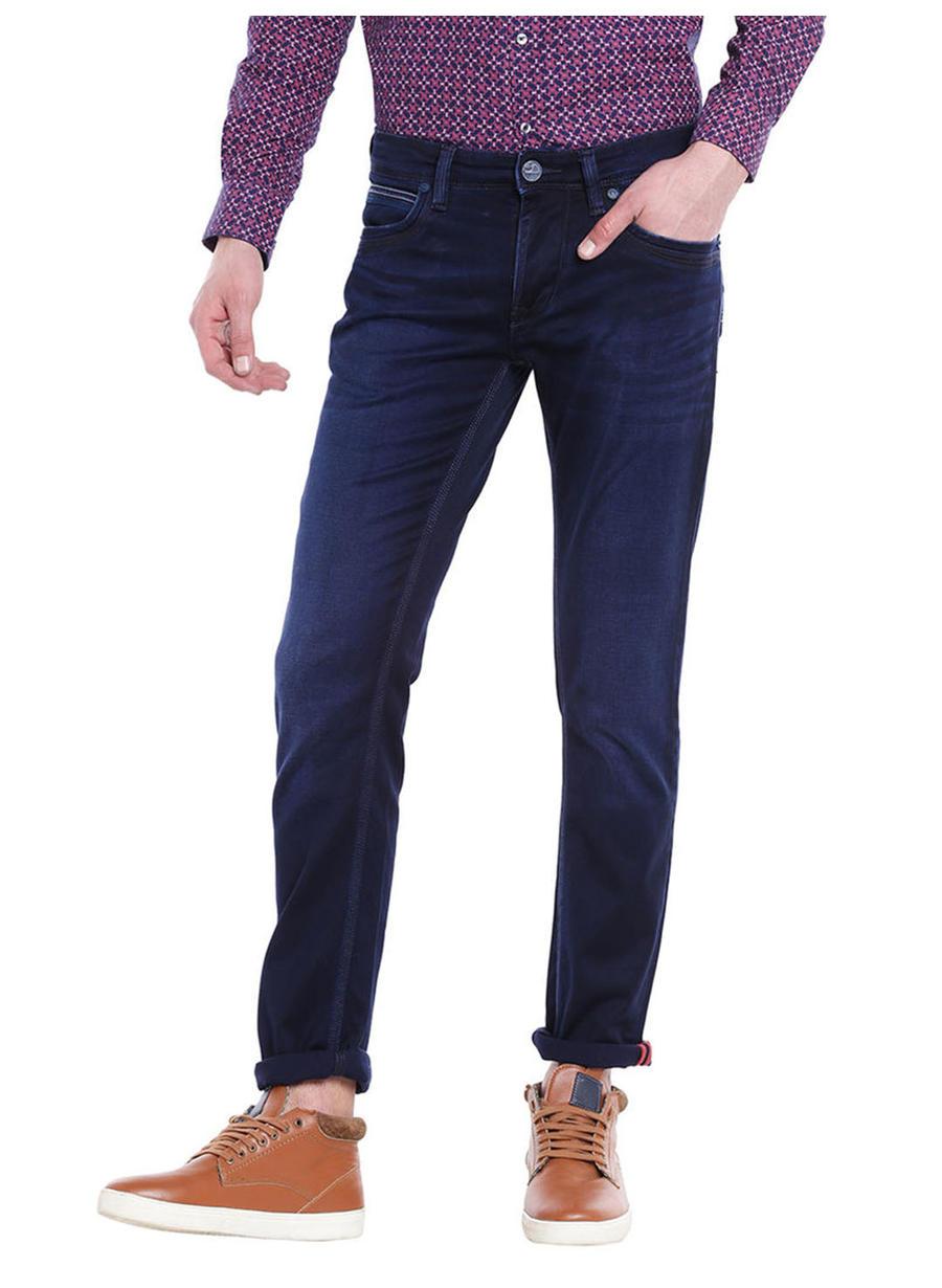 Solid Black Color Cotton Slim Fit Jeans
