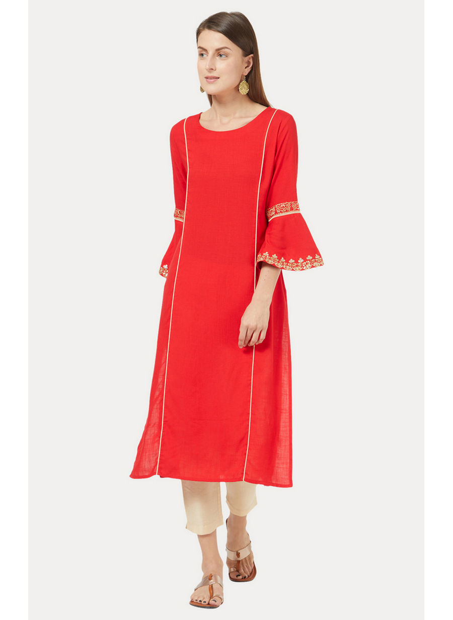 Red Solid Kurta
