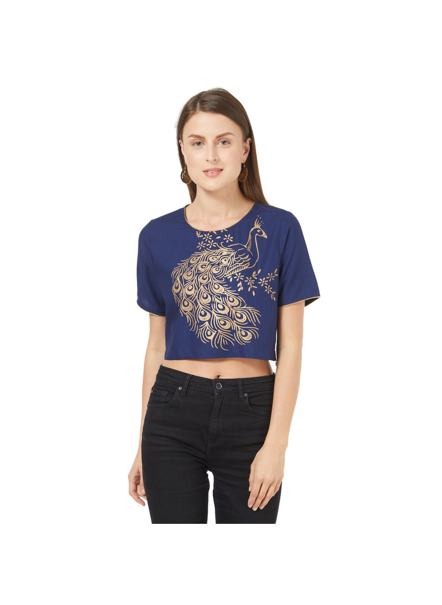 Desi Belle Blue Printed Women Crop Top