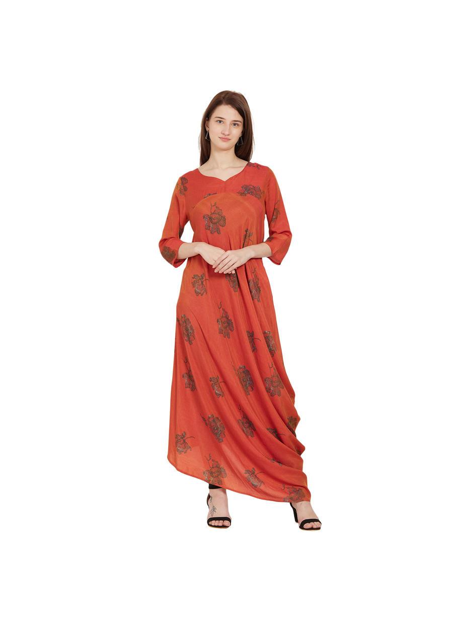 Desi Belle 3/4th Sleeves Orange Printed Women Dress