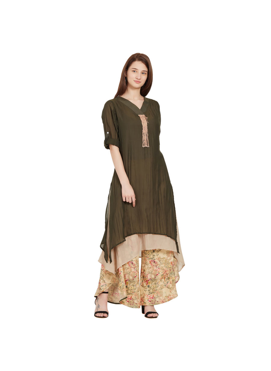 Desi Belle Green Solid Women Kurti