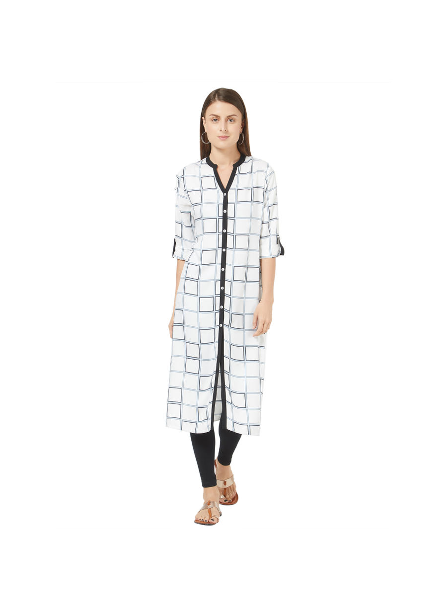 Desi Belle White Checkered Women Kurti
