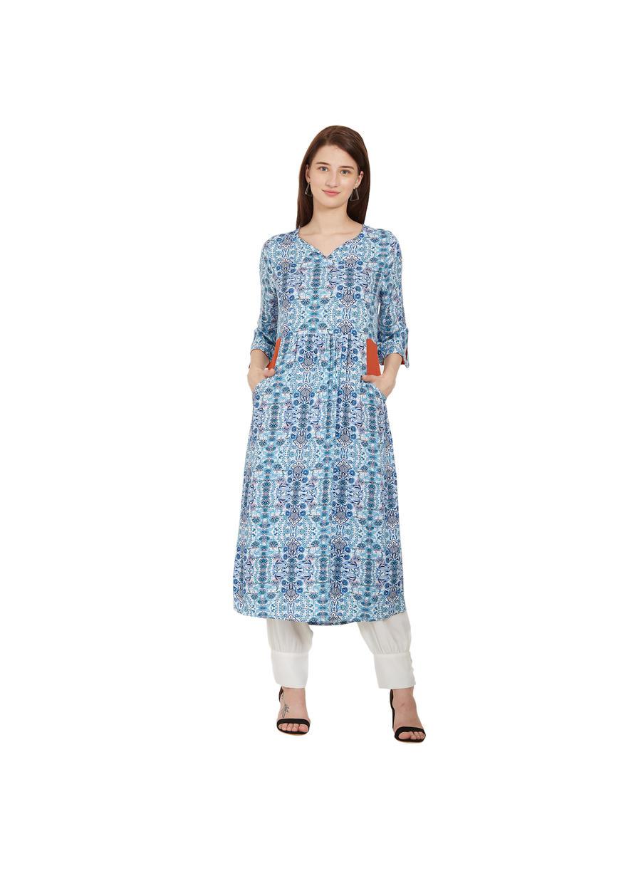 Desi Belle Blue Printed Women Kurti