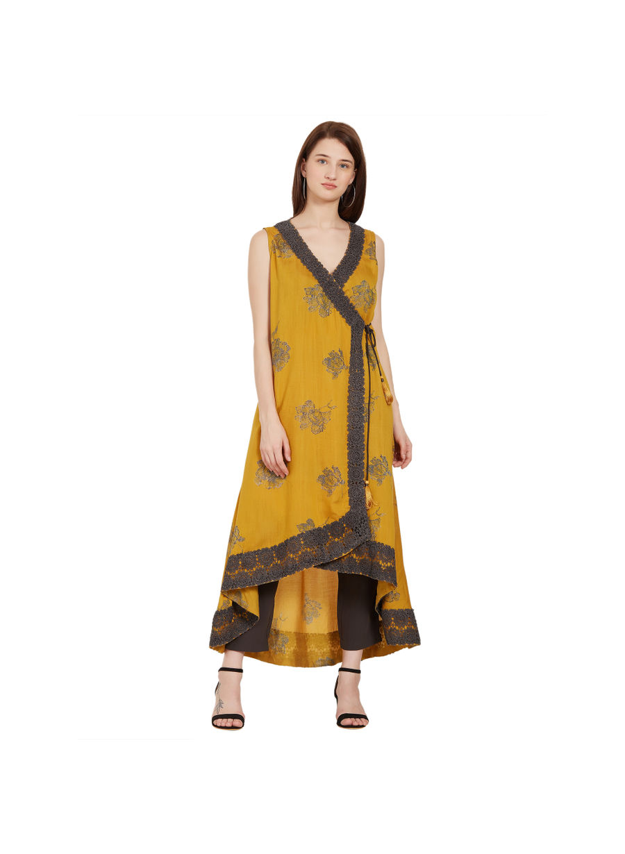 Desi Belle Yellow Printed Women Kurti