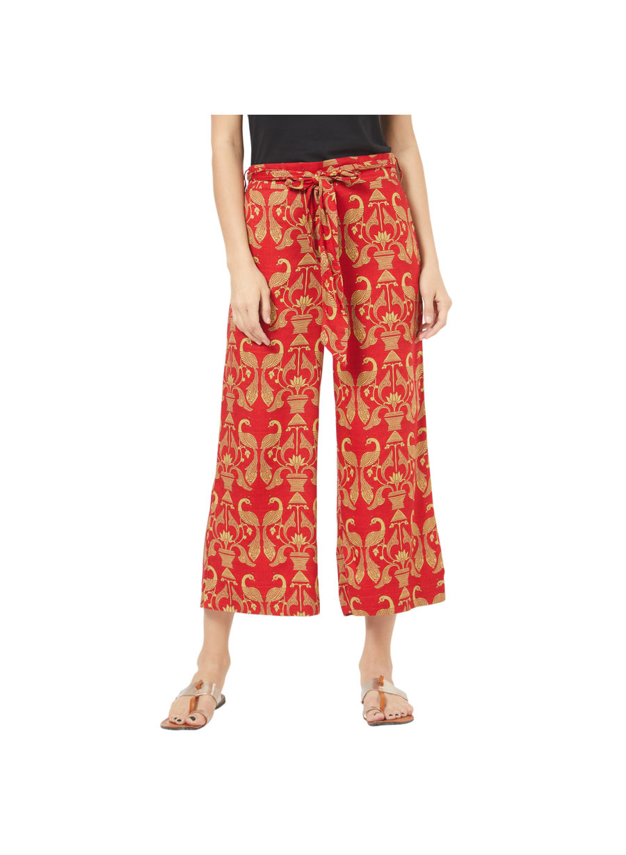 Desi Belle Red Printed Women Palazzo