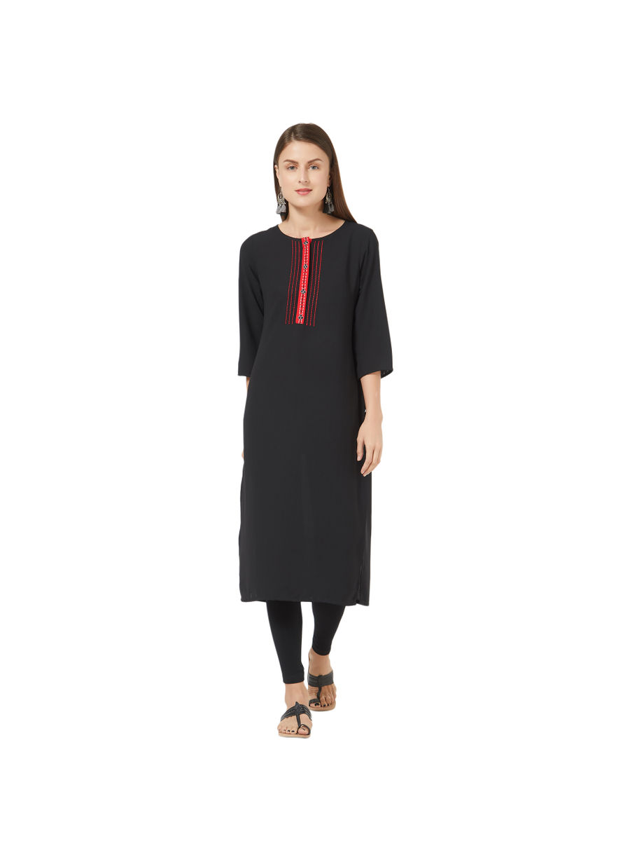 Desi Belle Black Solid Women Kurti