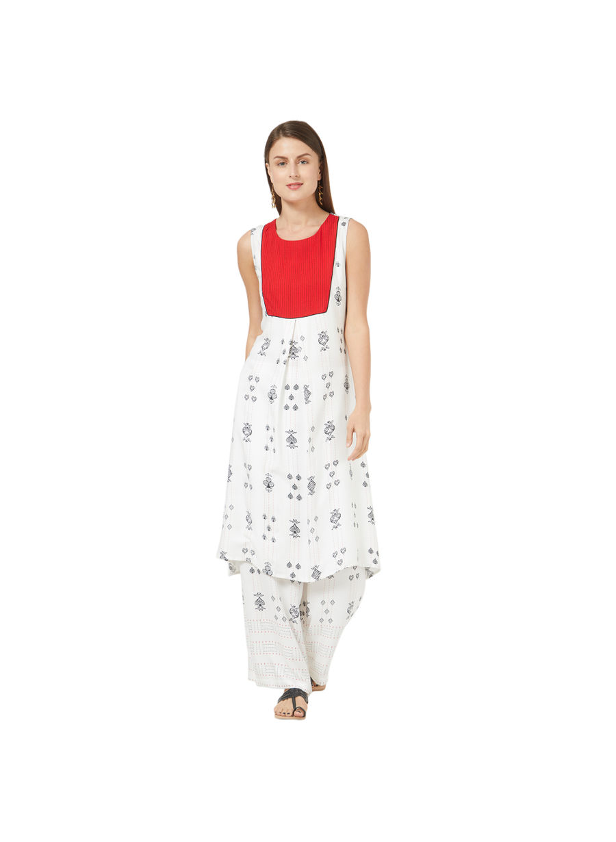 Desi Belle White Printed Women Kurti