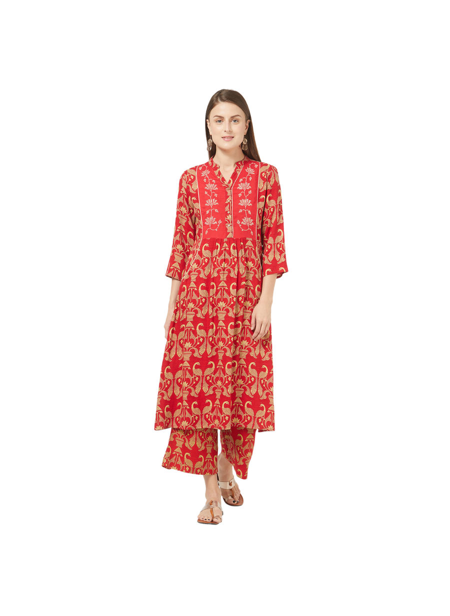 Desi Belle Red Printed Women Kurti