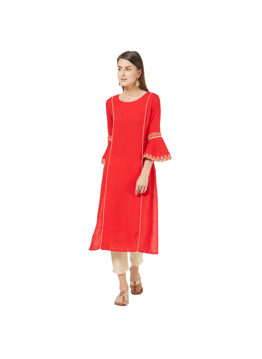 Desi Belle Red Solid Women Kurti