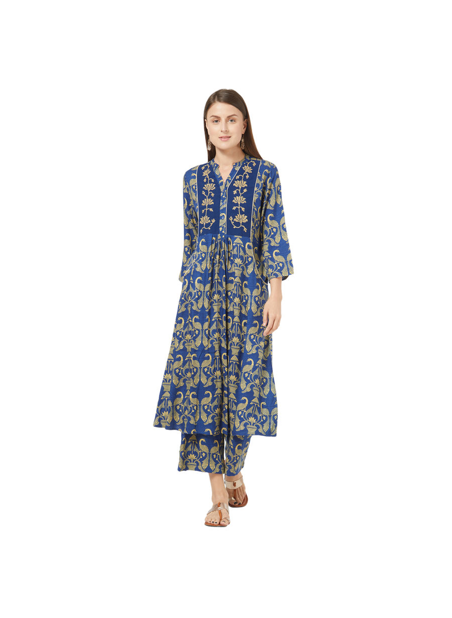Desi Belle Blue Printed Women Kurti