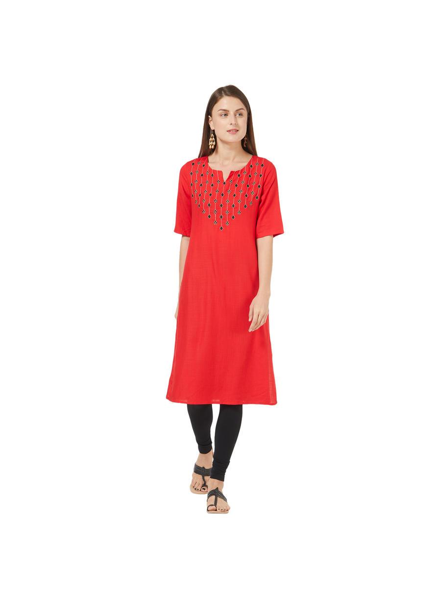 Desi Belle Red Printed Women Kurti