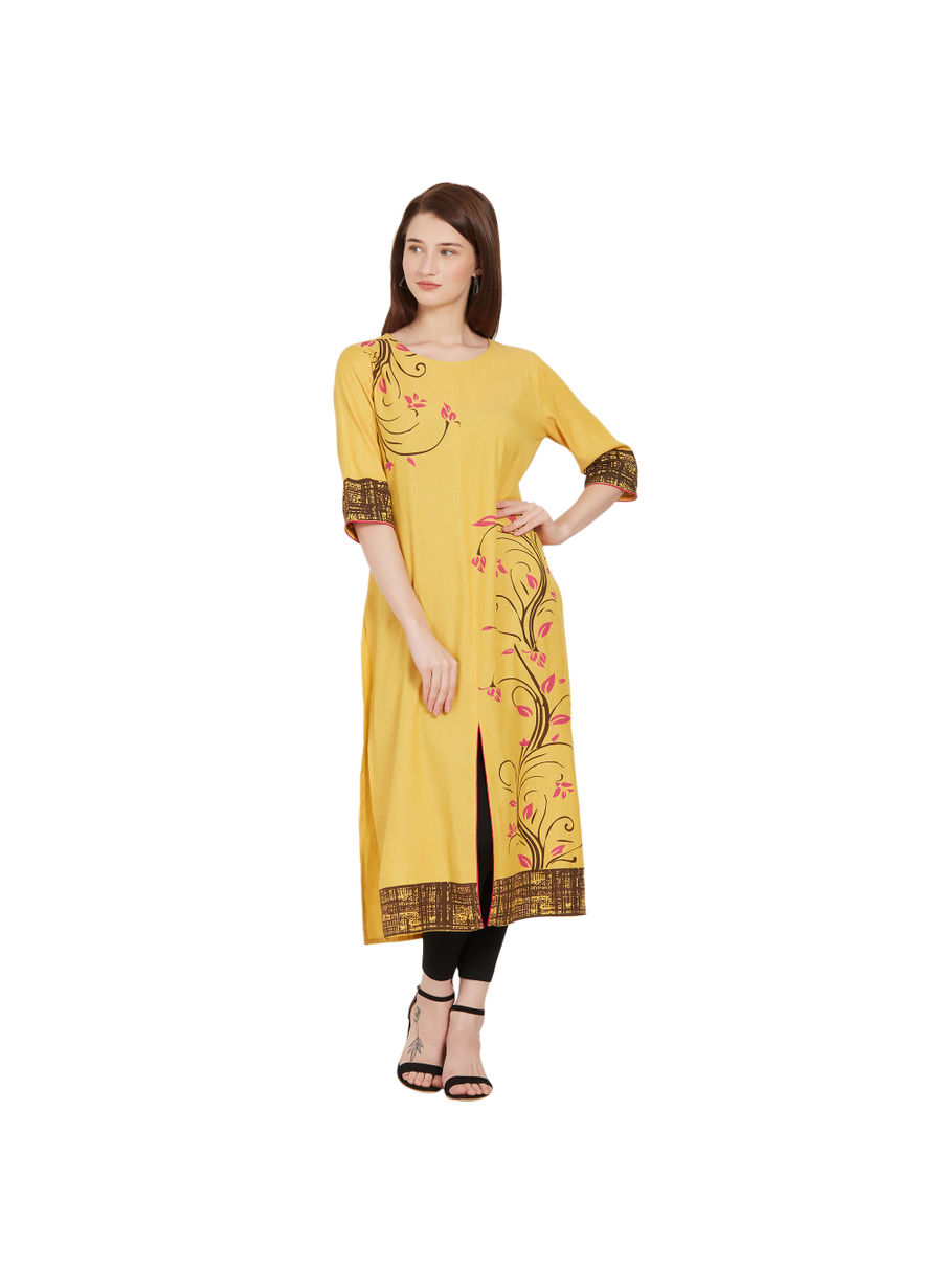 Desi Belle Yellow Printed Women Kurti