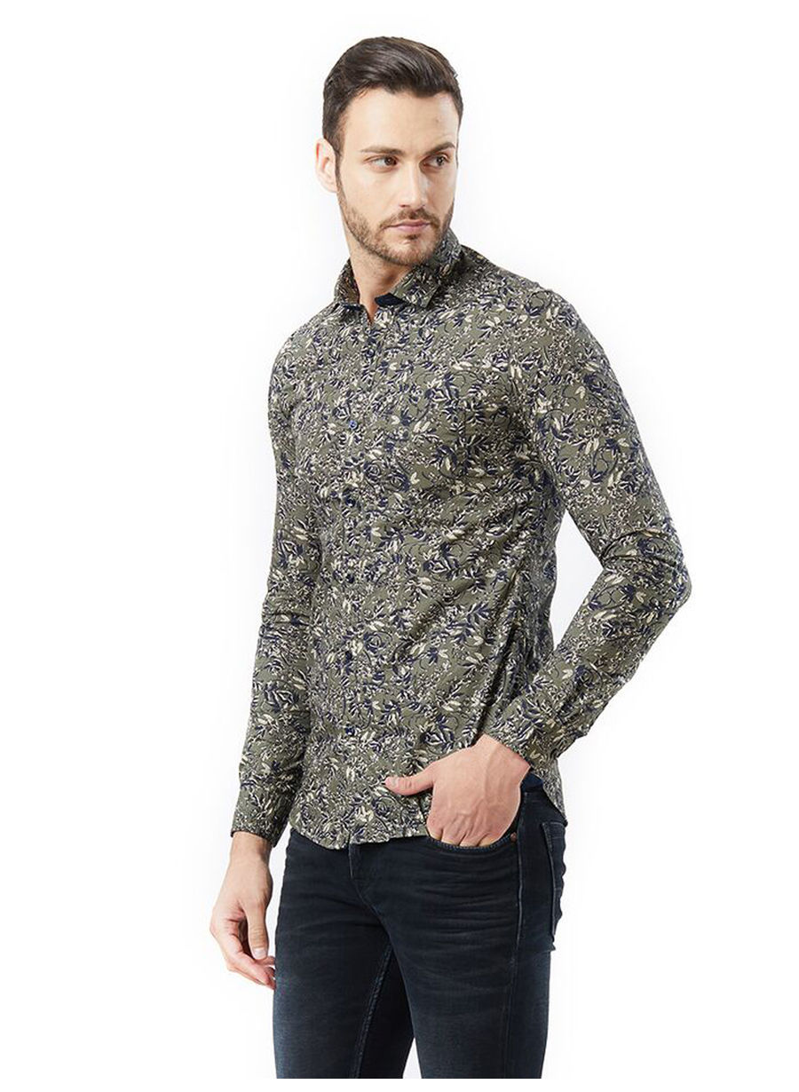 Printed Green Color Cotton Casual Shirt