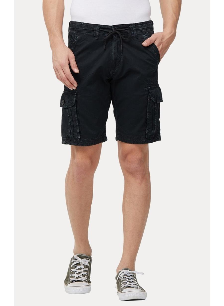 Black Solid Shorts