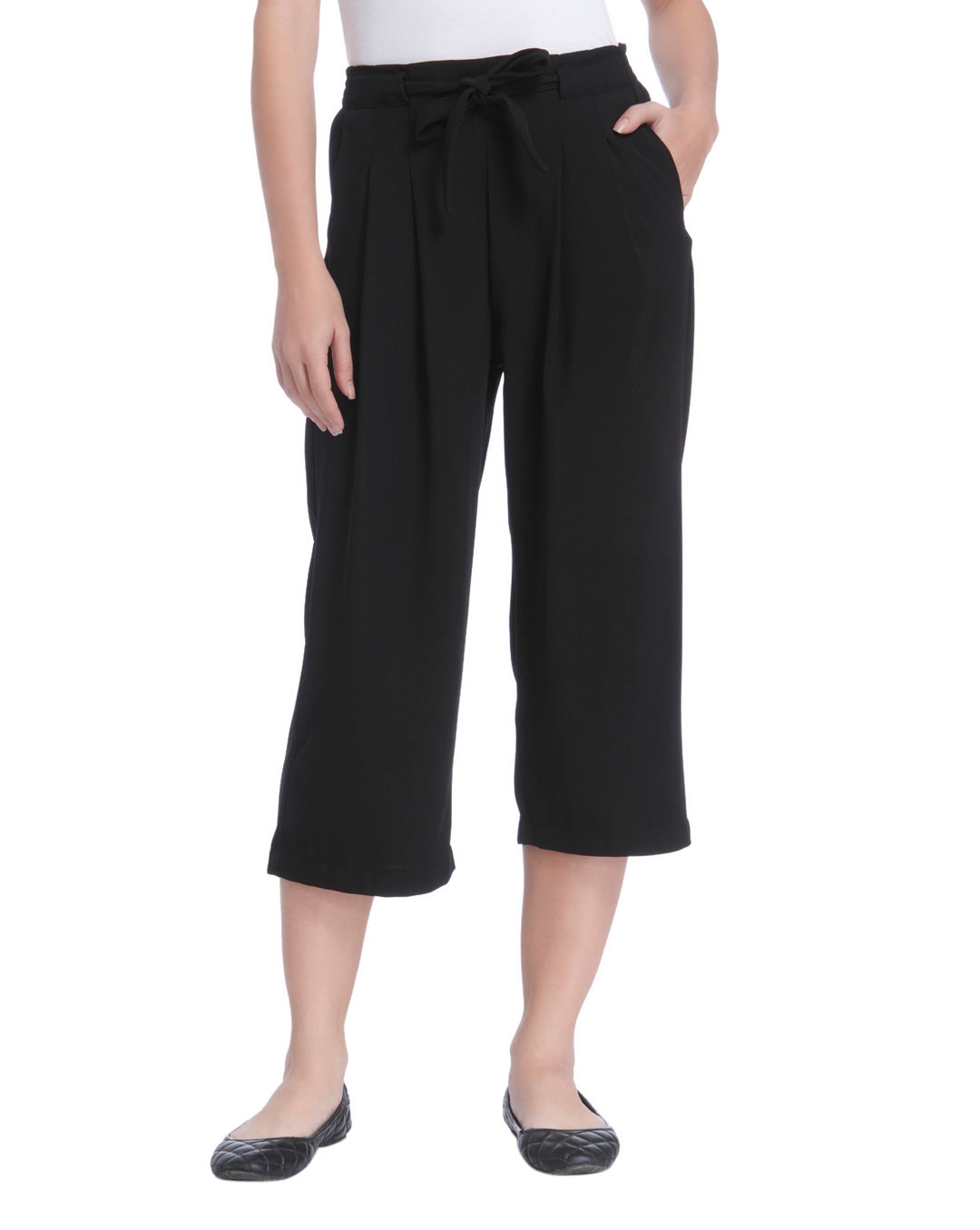 149523192 Buy ONLY Black Mid Rise Wide Leg Pants Online | ONLY