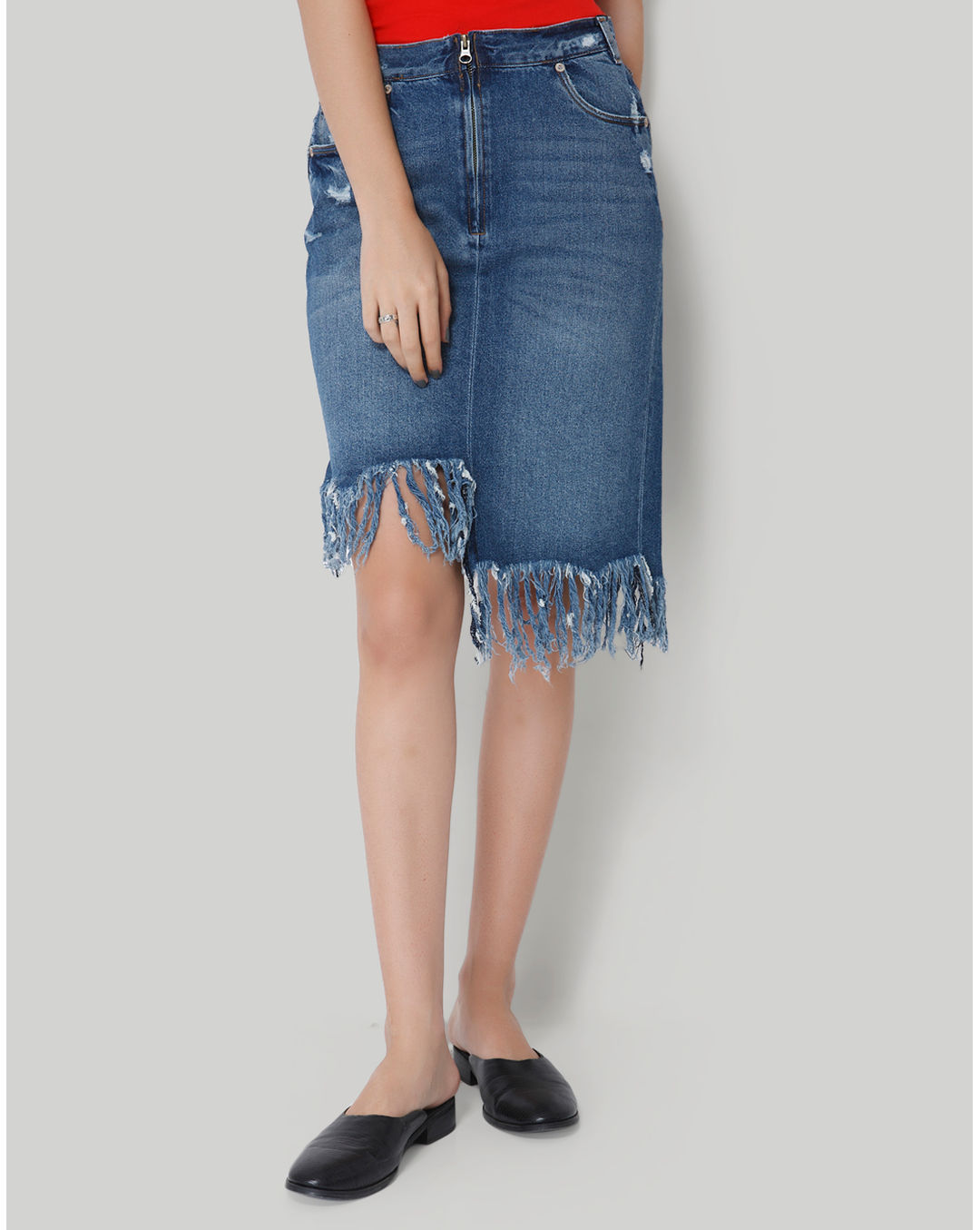 classcic cheaper sale latest style of 2019 Buy Only Blue Fringe Detail Denim Skirt Online | Only