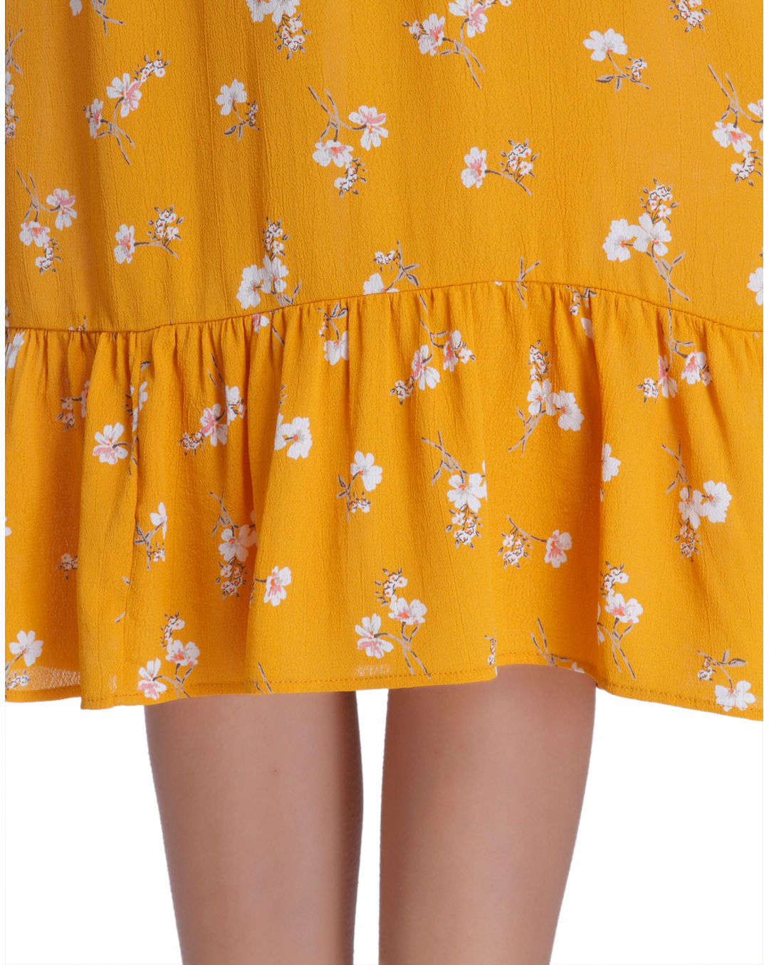 bb7c8971e9 Buy ONLY Yellow Floral Print Cold Shoulder Midi Dress Online | ONLY