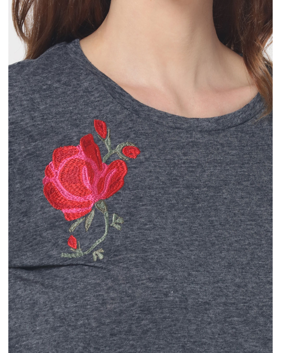 Buy ONLY Grey Floral Embroidered T-Shirt Online | ONLY