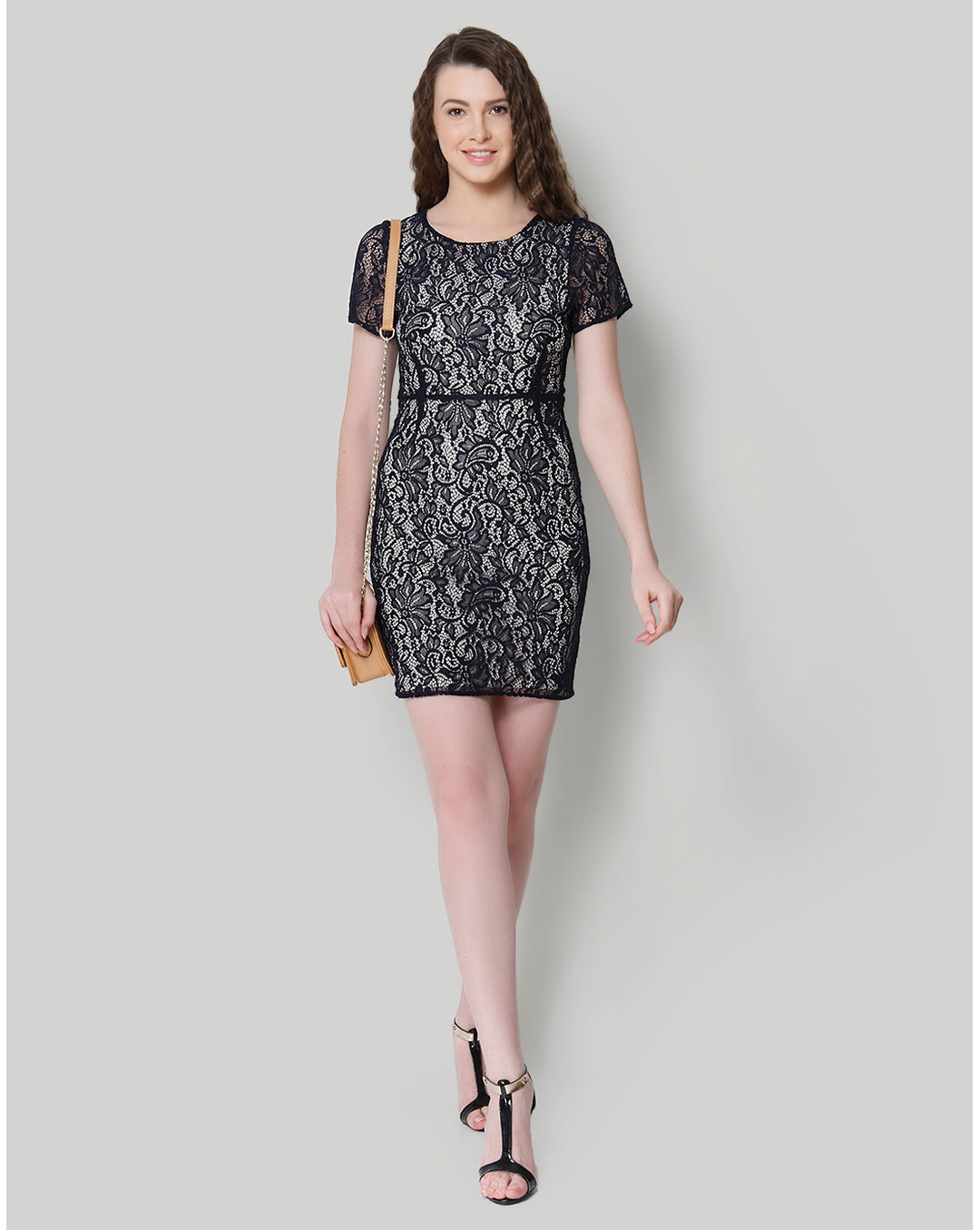 Buy Only Black Lace Bodycon Dress Online Only