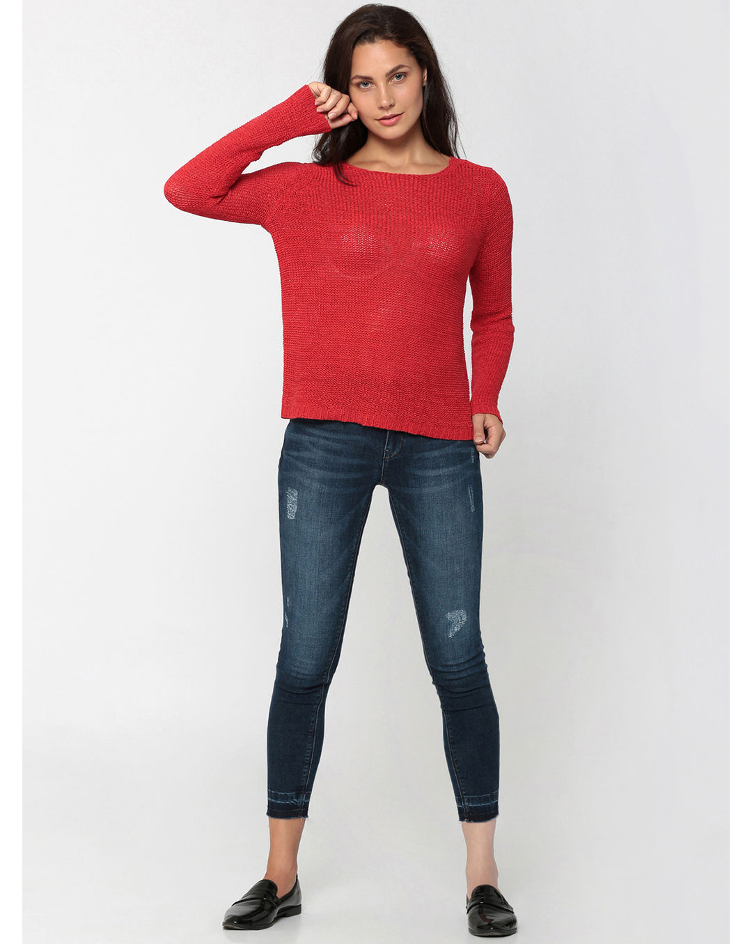 buy popular 482d6 7a6dc Buy ONLY Red Criss Cross Back Knit Pullover Online | Vero Moda