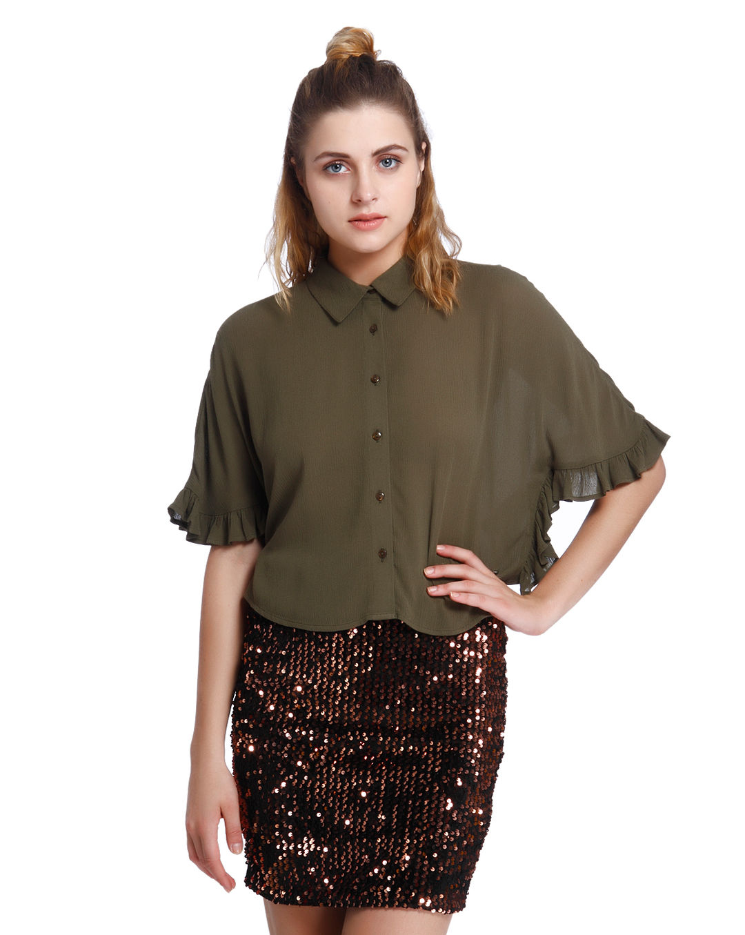 38b9f7d8f82 Buy ONLY Olive Green Frill Flared Sleeves Shirt Online | ONLY