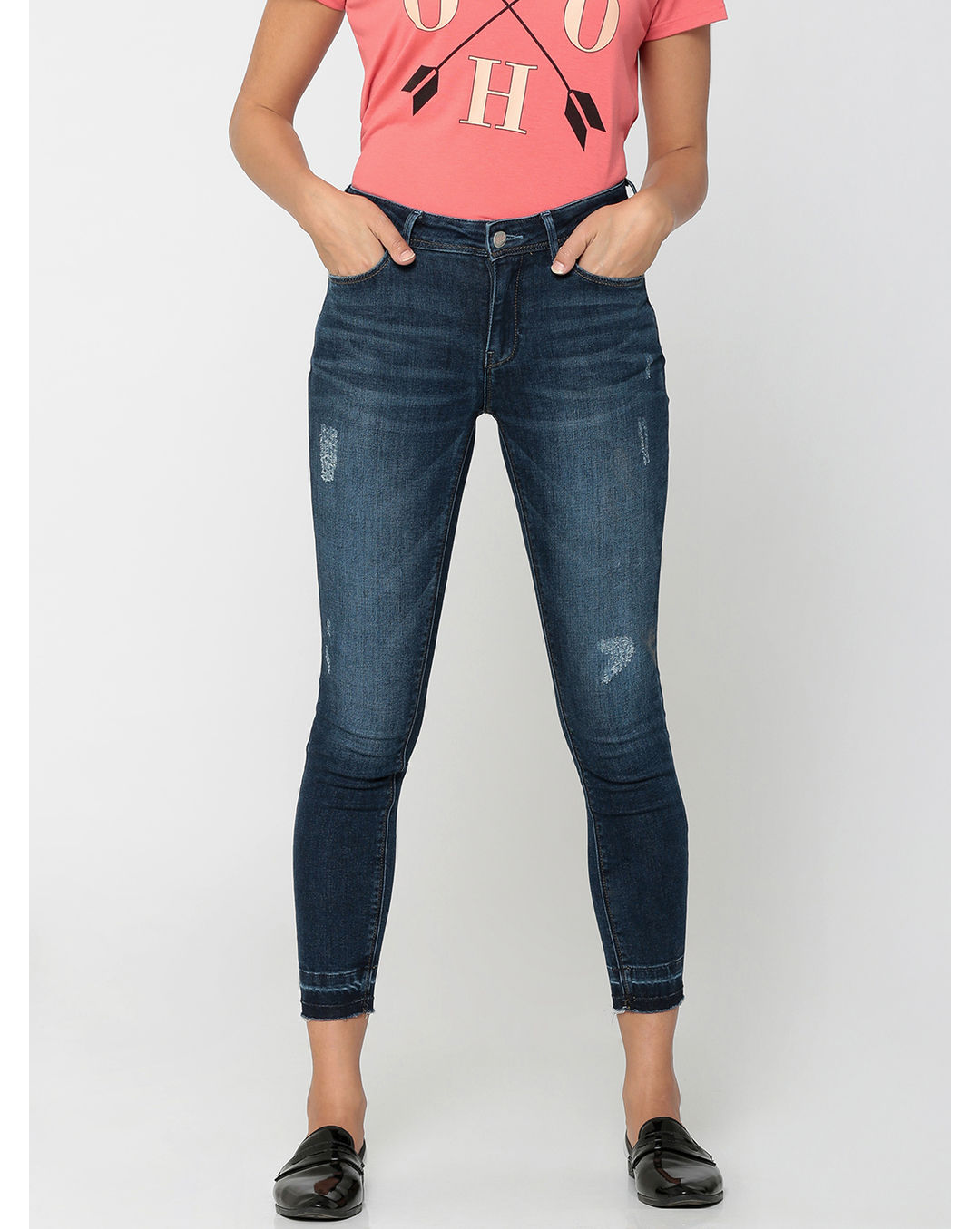 27805225 Buy ONLY Dark Blue High-Waist Distressed Slim Fit Jeans Online | ONLY