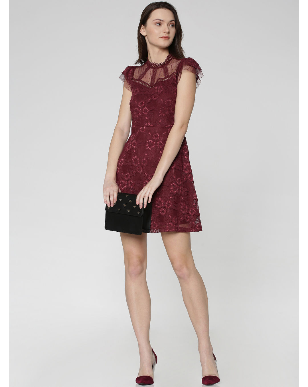 Buy Girls Purple Floral Lace Detail Mini Dress Online Only