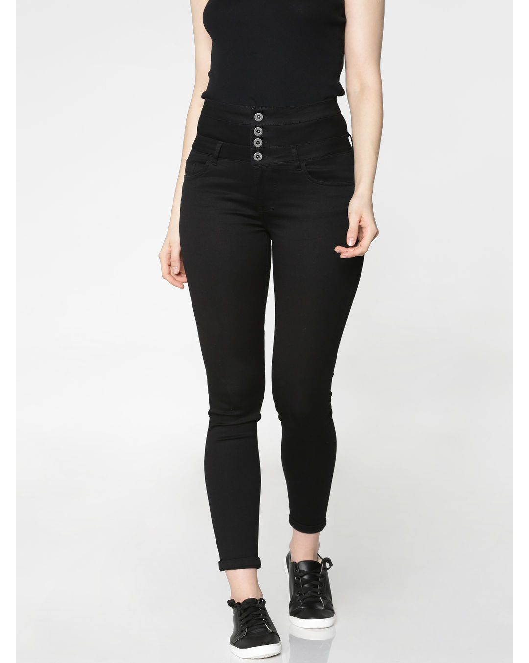 3cdadb255f9f70 Buy ONLY Black High Waist Ankle Length Skinny Fit Jeggings Online | ONLY