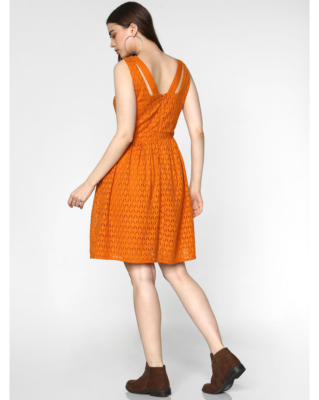 Buy Only Orange Lace Fit Flare Dress Online Only