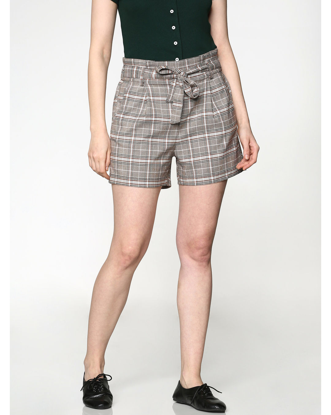 c6074cfc39 Buy ONLY Grey Low Rise Check Tie Up Belt Paper Bag Waist Shorts ...
